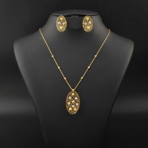22Kt Gold Ovel Beads Necklace
